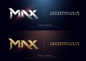 Elegant Silver and Golden Colored Metal Chrome Alphabet Font Typography modern style gold font set for logo Poster Movie vector illustration