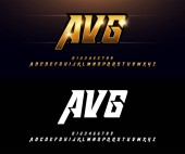 Alphabet gold metallic and effect designs Elegant golden letters typography italic font technology sport movie and sci-fi concept vector illustrator