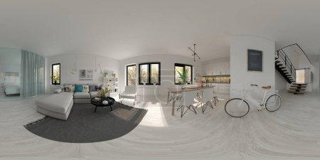 Photo pour Sphérique 360 panorama projection scandinaves décoration D 3 rendu de style - image libre de droit