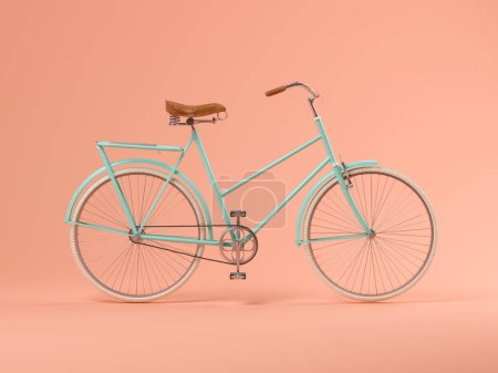 Blue bicycle on pink background 3 D illustration...