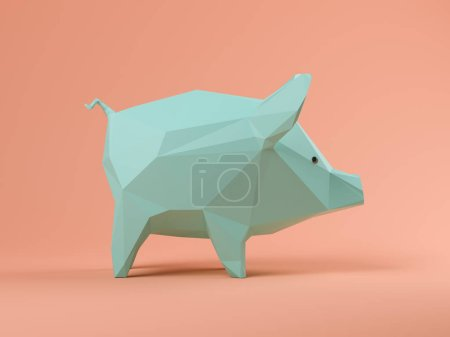 Photo pour Cochon bleu sur fond rose Illustration 3 D - image libre de droit