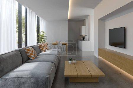 Photo pour Intérieur de la moderne salle de séjour avec canapé et mobilier rendu 3 D - image libre de droit