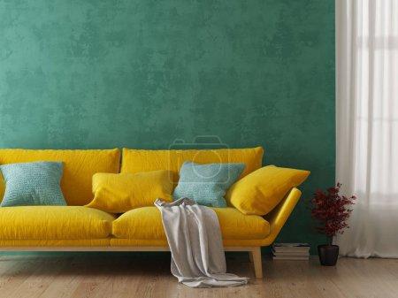 Foto de Interior de salón moderno con representación de sofá 3 D - Imagen libre de derechos