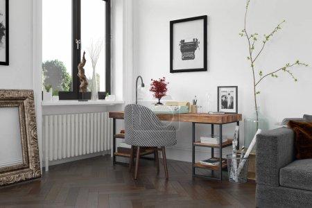 Foto de Interior de moderna sala de estar con sofá y muebles de representación 3 D - Imagen libre de derechos