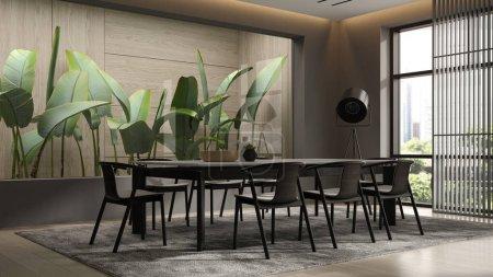 Interior minimalista de la sala de estar moderna representación 3D