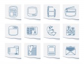 Media icons  on a piece of paper- Vector Icon Set