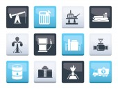 Oil and petrol industry icons over color background - vector icon set