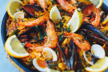 Photo for Spanish seafood paella, closeup view - Royalty Free Image