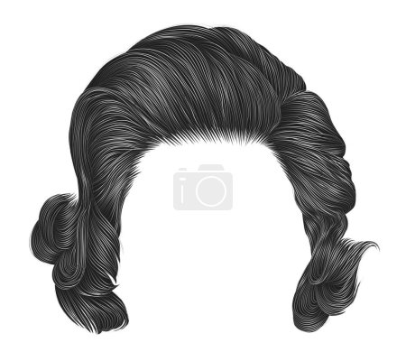 Illustration for Trendy  woman curly hairs gray color . medium length . beauty style . realistic  3d . - Royalty Free Image