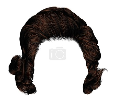 Illustration for Trendy  woman curlybrunette brown. color . medium length . beauty style . realistic  3d . - Royalty Free Image
