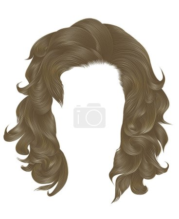 Illustration for Trendy  woman curly hairs blond color . medium length . beauty style . realistic  3d . - Royalty Free Image