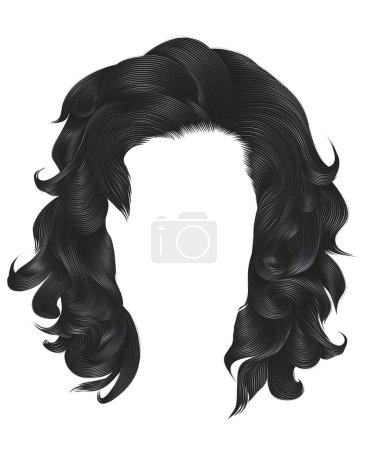 Illustration for Trendy  woman curly hairs blond gray color . - Royalty Free Image
