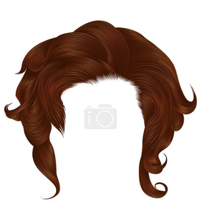 Illustration for Trendy  woman curlyginger color . medium length . beauty style . realistic  3d . - Royalty Free Image