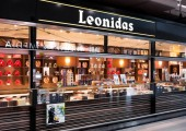 AMSTERDAM, NETHERLANDS - JULY 18, 2018: Leonidas Chocolate store at Schiphol Plaza, shop exterior with logo.