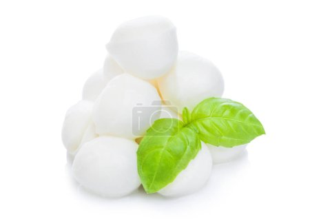 Photo for Fresh Mozzarella cheese and basil leaf on white background with reflection - Royalty Free Image
