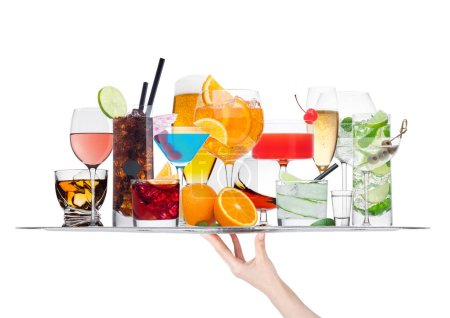 Photo for Hand holding tray with various cocktails with ice isolated on white background.Blue lagoon, martini, negroni, mojito, spritz, gimlet, cuba libre, cosmopolitan, margarita. - Royalty Free Image