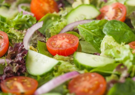 Photo for Fresh healthy vegetarian vegetables salad with tomatoes and cucumber, red onion and spinach close up. Macro - Royalty Free Image