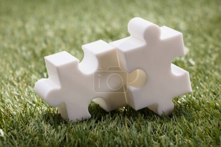 Elevated View Of Two White Jigsaw Puzzle On Green Grass