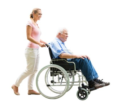 Happy Woman Assisting Her Disabled Father On Wheelchair Over White Background
