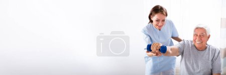 Photo for Senior Physical Therapy. Elderly Physiotherapy And Rehabilitation - Royalty Free Image