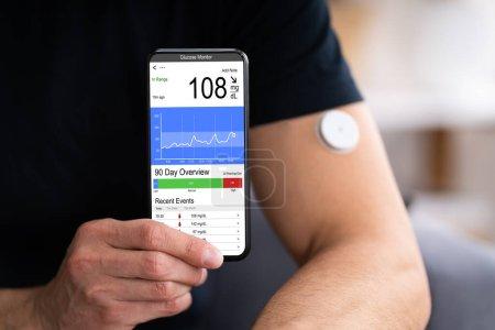 Photo pour Lecteur de glucose continu Test de glycémie Smart Phone App - image libre de droit