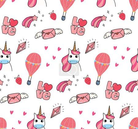 seamless pattern of beautiful cartoon style unicorns, vector illustration