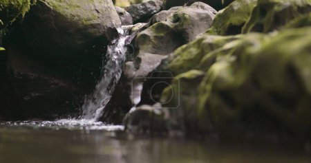 Water flow with lake close up