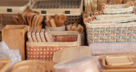 Wooden baskets selling in the store