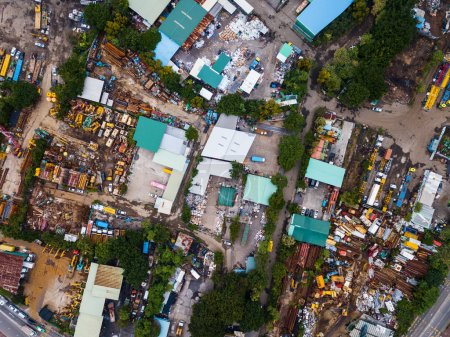Yuen Long, Hong Kong - 15 November, 2017: Top view of waste land in Hong Kong