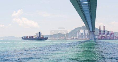 Kwai Tsing, Hong Kong - 02 May, 2018: Hong Kong Kwai Tsing Container Terminals and stonecutter bridge