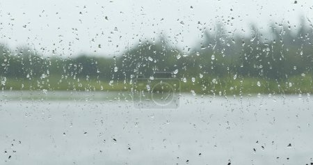 Window view with raining outside