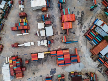 Aerial view container port