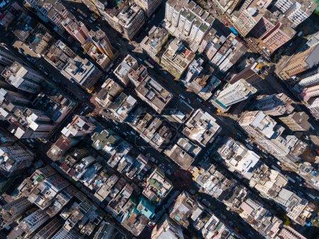 Aerial view of Hong Kong buildings