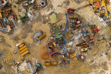 Tin Shui Wai, Hong Kong - 02 September, 2018: Top view of construction site