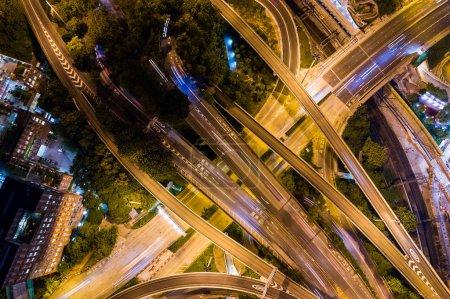 Hung Hom, Hong Kong 05 September 2018:- Top down of road traffic at night