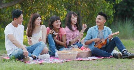 Freunde haben Spaß beim Picknick