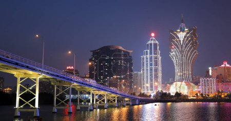 Photo for Nam Van Lake, Macau - 22 January, 2019: Macau city skyline at night - Royalty Free Image