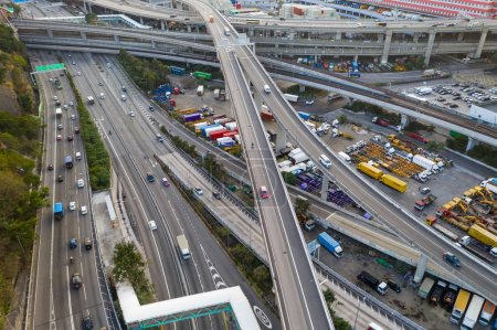 Photo for Kwai Tsing, Hong Kong - 14 February, 2019: Top down view of the traffic - Royalty Free Image