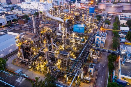 Photo for Tai Po, Hong Kong - 20 May, 2019: Top view of industrial factory plant at night - Royalty Free Image