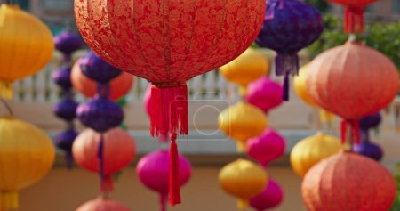 Photo for Chinese style lanterns hanging at outdoor for decoration of the mid autumn festival - Royalty Free Image