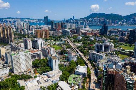 Photo for Kowloon, Hong Kong 10 September 2019: Drone fly over Hong Kong city - Royalty Free Image