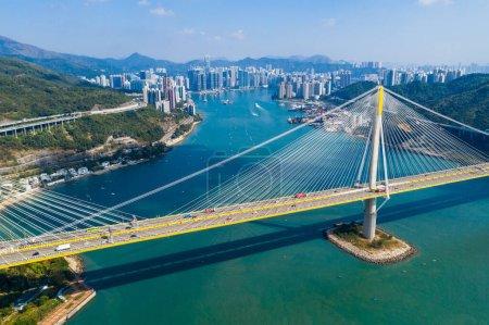 Photo for Hong Kong, 24 November 2019: Top view of Ting Kau bridge - Royalty Free Image