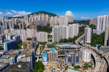 Photo for Kwun Tong, Hong Kong 06 September 2019: Top view of Hong Kong city - Royalty Free Image