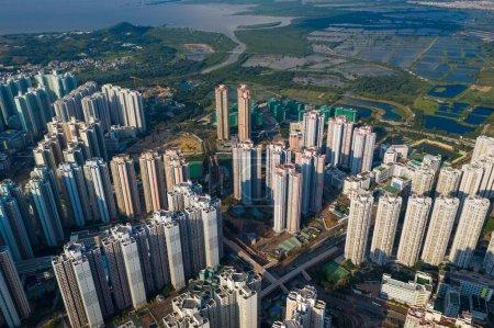 Photo pour Tin Shui Wai, Hong Kong 04 octobre 2020 : Vue du dessus de la ville de Hong Kong - image libre de droit