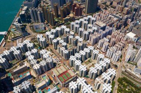 Photo for Hung Hom, hong Kong 13 April 2020: Drone fly over Hong Kong city - Royalty Free Image