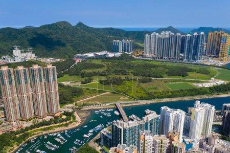 Photo for Tseung Kwan O, Hong Kong 19 May 2020: Top view of Hong Kong city - Royalty Free Image