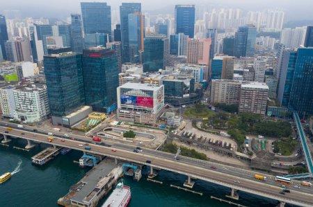 Photo pour Kwun Tong, Hong Kong 27 février 2020 : Vue aérienne de la ville de Hong Kong - image libre de droit
