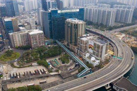 Photo for Kwun Tong, Hong Kong 27 February 2020: Aerial view of Hong Kong city - Royalty Free Image