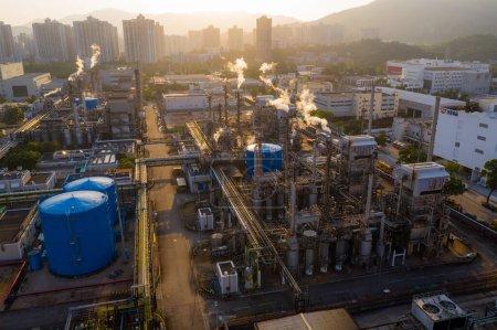 Photo for Tai Po, Hong Kong 28 April 2020: Top view of Hong Kong industrial plant - Royalty Free Image