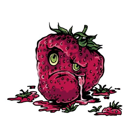 Illustration for Vector angry strawberry funny character - Royalty Free Image